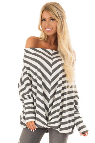 Charcoal and White Striped Ribbed Off the Shoulder Top front close up