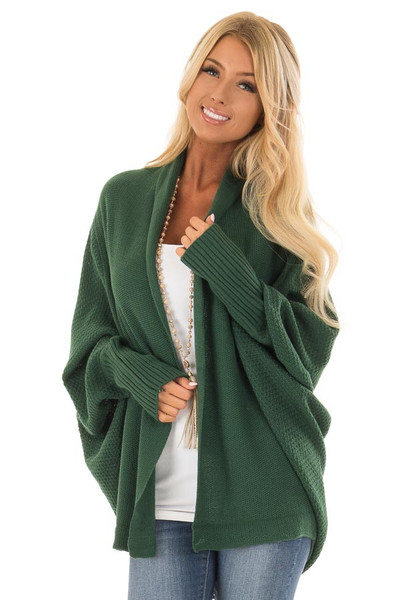 Emerald Long Sleeve Open Draped Cardigan front close up