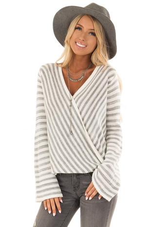 Cream and Heather Grey Striped Sweater with Cross Over Front front close up
