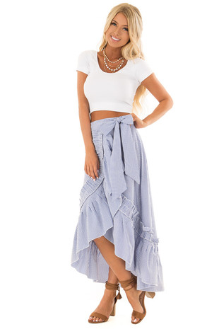 White and Ocean Blue Striped Wrap Skirt with Ruffle Detail front full body
