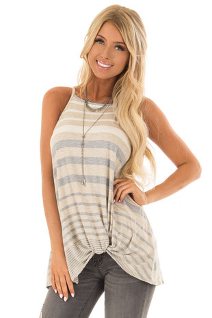 Oatmeal and Heather Grey Striped High Neck Tank Top front close up
