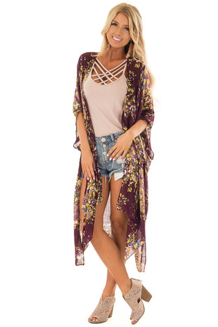 Wine Abstract Floral Print Kimono with Flare Sleeves front full body