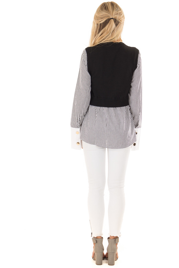 Black and White Striped Dress Shirt With Sweater Vest back full body