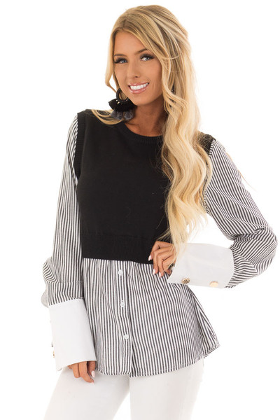 Black and White Striped Dress Shirt With Sweater Vest front close up