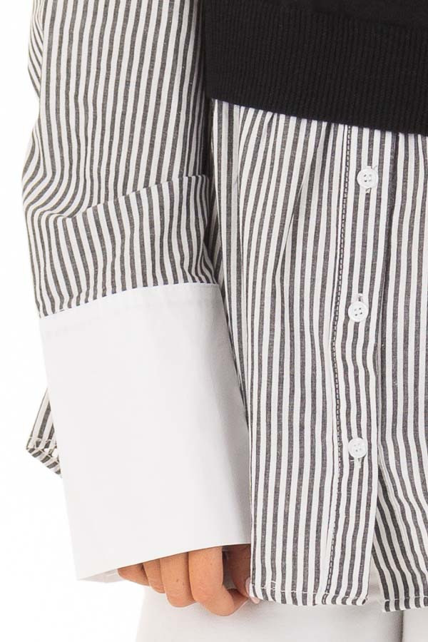Black and White Striped Dress Shirt With Sweater Vest detail