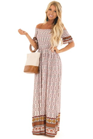 Brick Boho Print Off the Shoulder Maxi Dress front full body