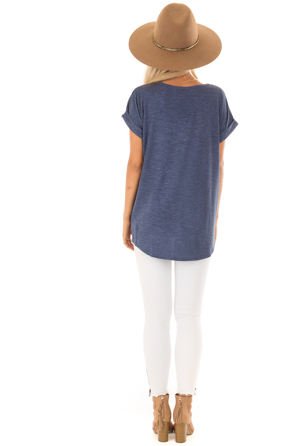 Denim Twisted Vintage Washed Top With Cuffed Sleeve back full body