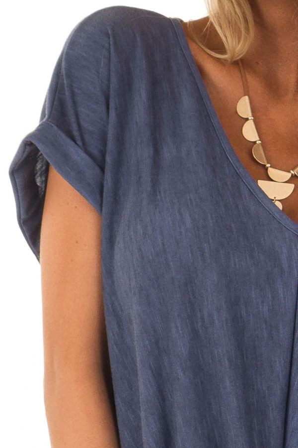 Denim Twisted Vintage Washed Top With Cuffed Sleeve detail