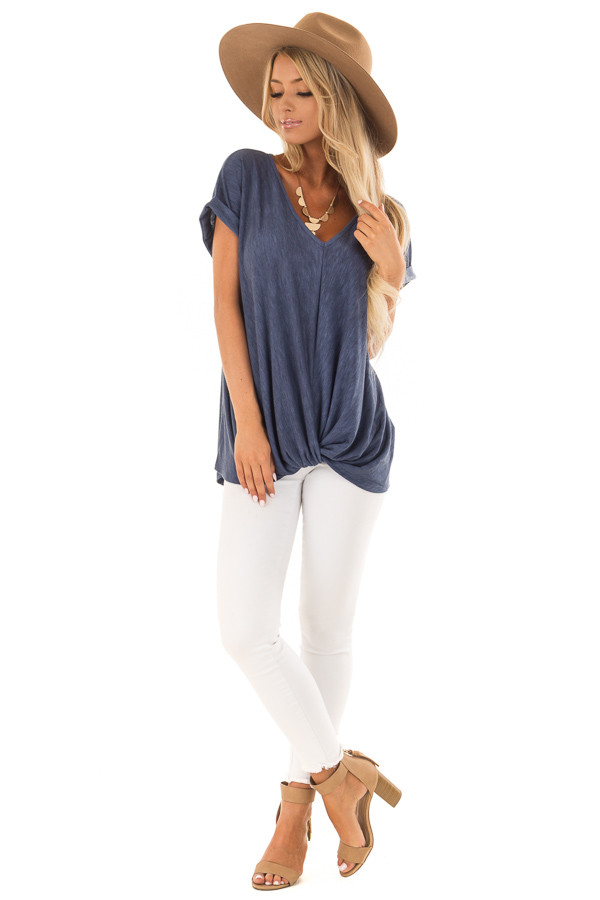 Denim Twisted Vintage Washed Top With Cuffed Sleeve front full body