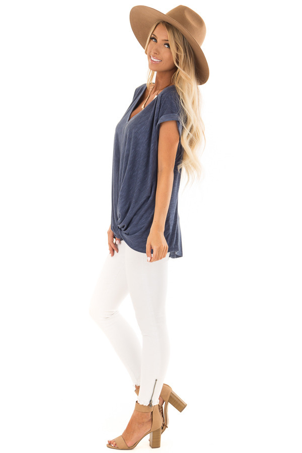 Denim Twisted Vintage Washed Top With Cuffed Sleeve side full body