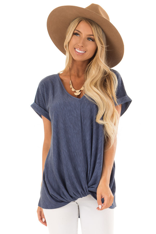 Denim Twisted Vintage Washed Top With Cuffed Sleeve front close up