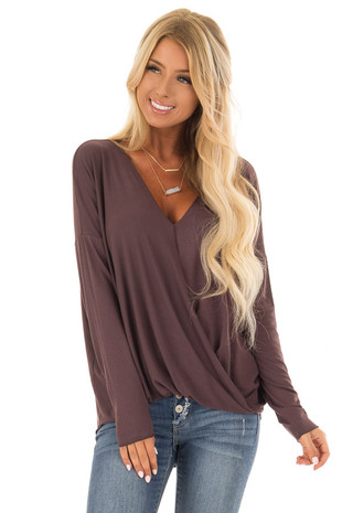Plum Brown Drop Shoulder Long Sleeve Surplice Top front close up