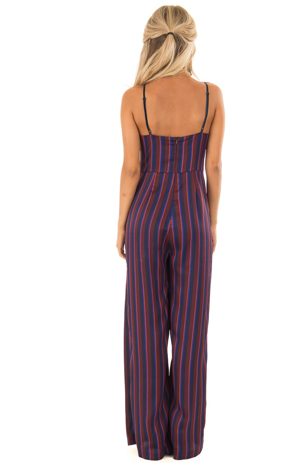 Burgundy and Navy Satin Striped Wide Leg Jumpsuit back full body