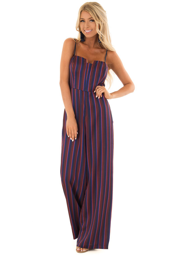 Burgundy and Navy Satin Striped Wide Leg Jumpsuit front full body
