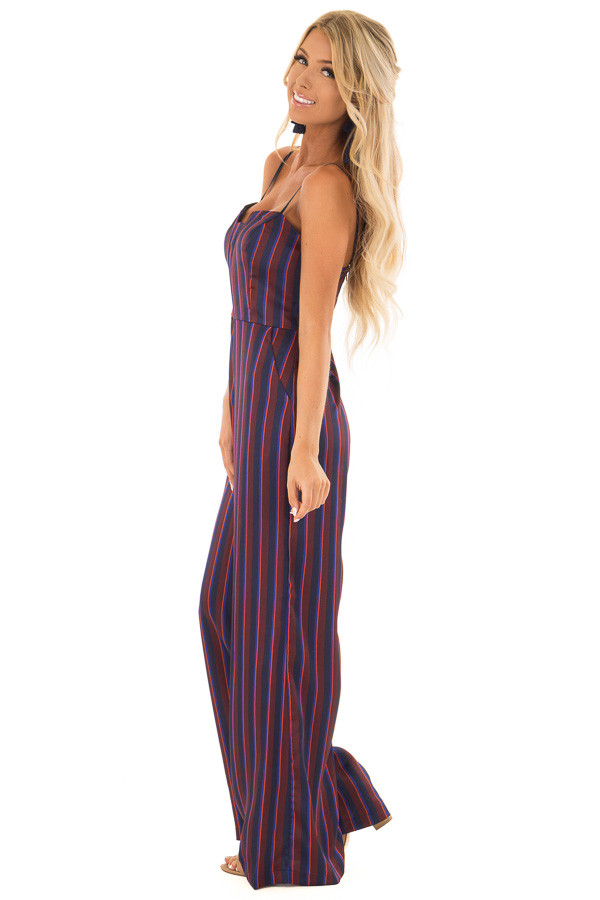 Burgundy and Navy Satin Striped Wide Leg Jumpsuit side full body