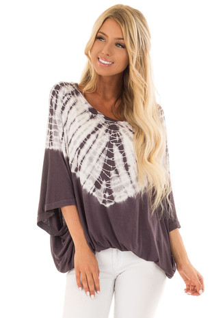 Charcoal Tye Die Short Sleeve Top with Dolman Sleeves front close up