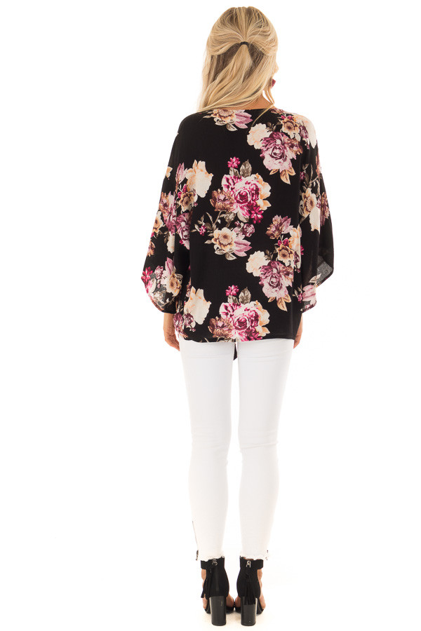 Black Floral Print 3/4 Sleeve Top with Front Tie Detail back full body
