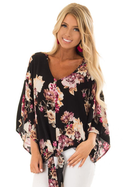 Black Floral Print 3/4 Sleeve Top with Front Tie Detail front close up