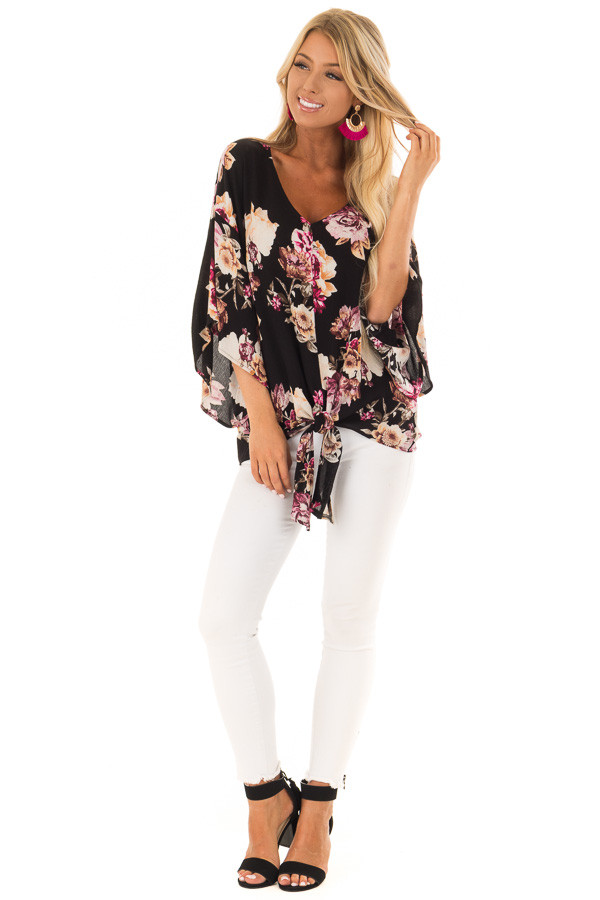 Black Floral Print 3/4 Sleeve Top with Front Tie Detail front full body