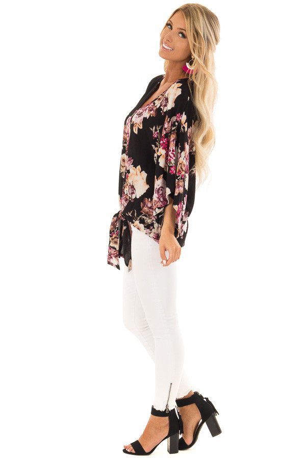Black Floral Print 3/4 Sleeve Top with Front Tie Detail side full body