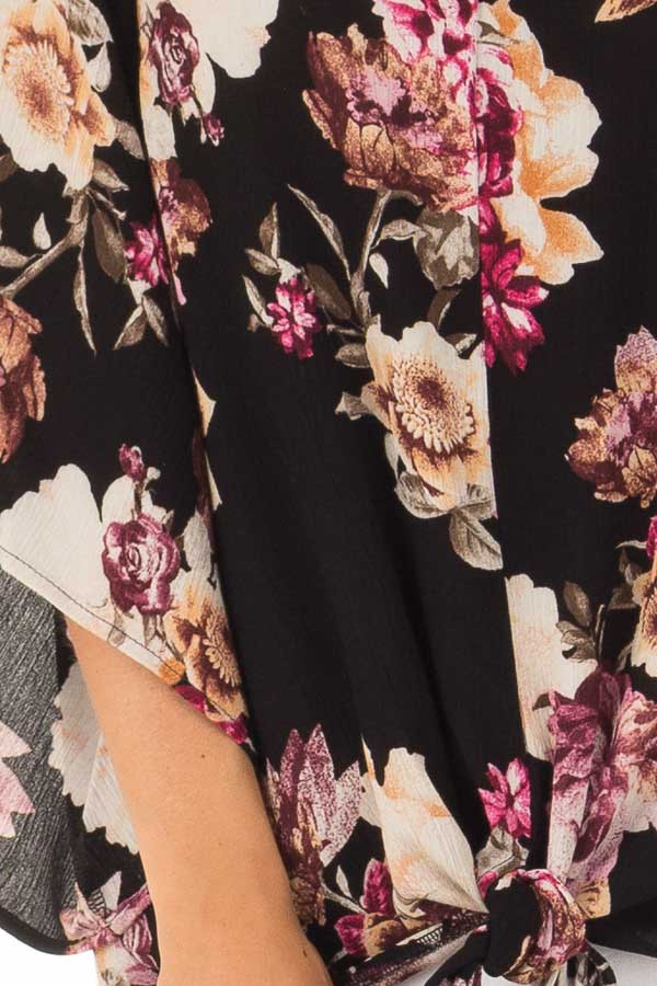Black Floral Print 3/4 Sleeve Top with Front Tie Detail detail