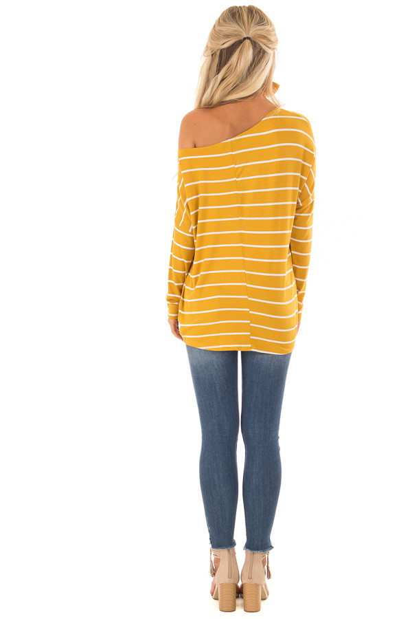 Mustard Off the Shoulder Striped Top with Front Twist Detail back full body