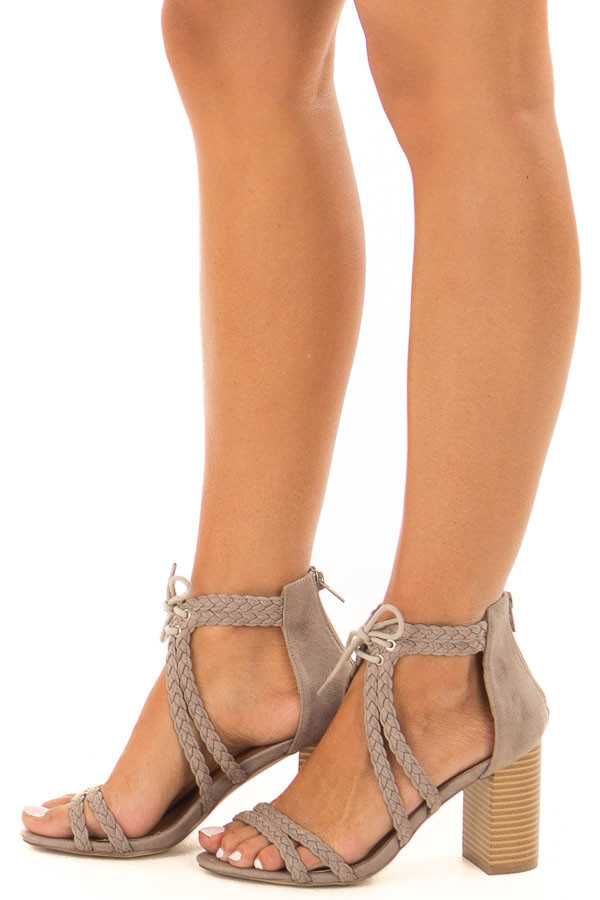 Grey Faux Leather High Heels with Braided Detail side view