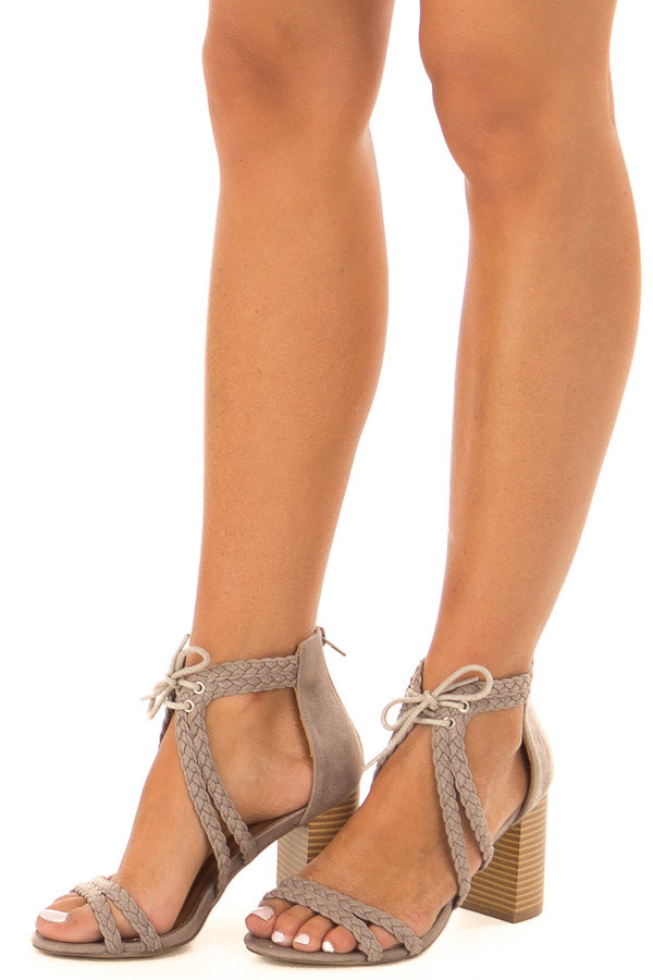 Grey Faux Leather High Heels with Braided Detail front side view