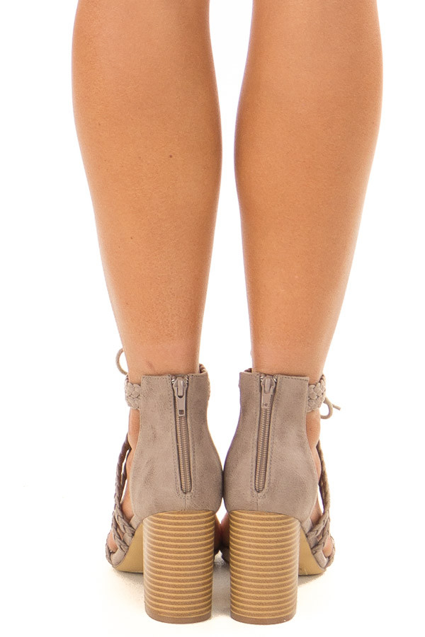 Grey Faux Leather High Heels with Braided Detail back view