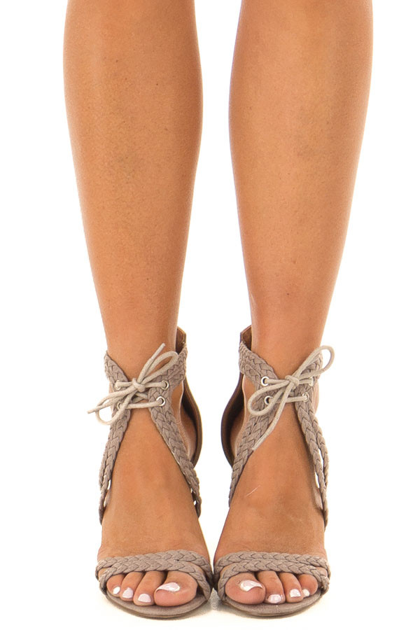 Grey Faux Leather High Heels with Braided Detail front view
