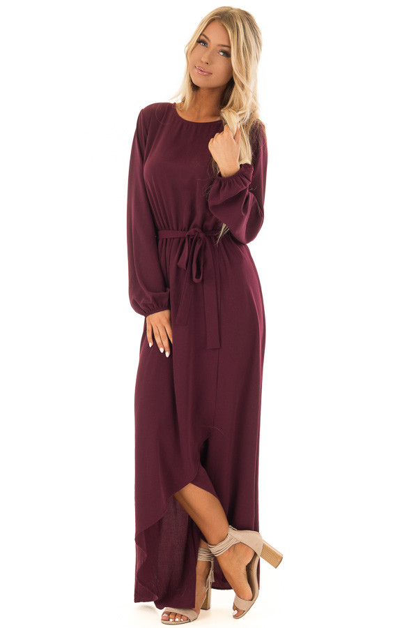 Wine Long Sleeve Maxi Wrap Dress With Waist Tie Lime Lush Boutique