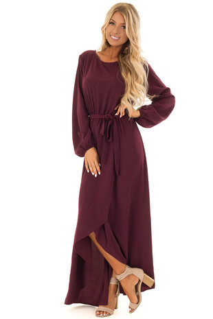 Wine Long Sleeve Maxi Wrap Dress with Waist Tie front full body