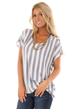 Chambray and White Striped Short Sleeve Top front close up