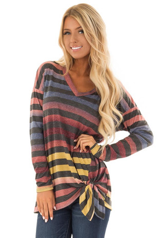 Multicolor Ombre Stripe Long Sleeve Top with Side Knot Tie front close up