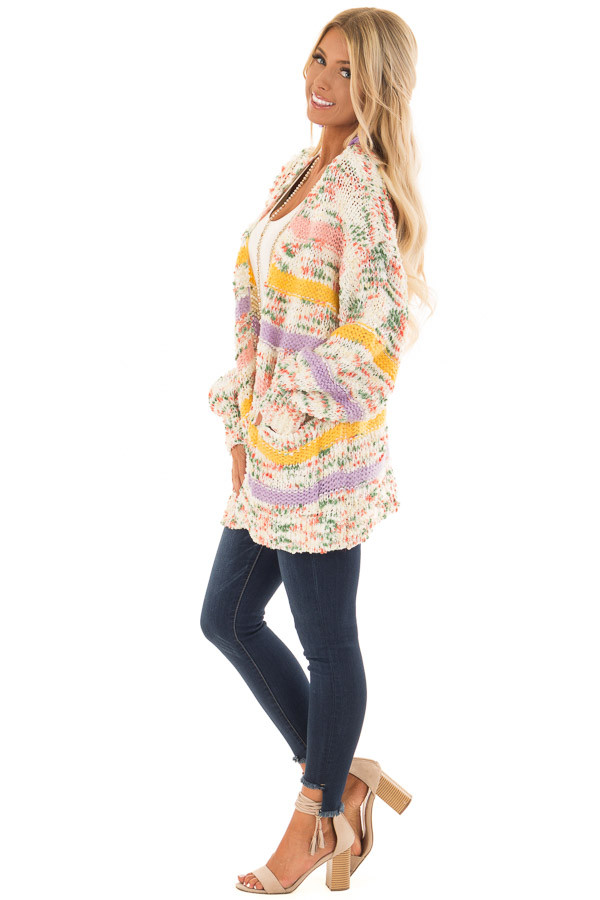 Multi Striped Yarn Open Front Cardigan with Pockets side full body