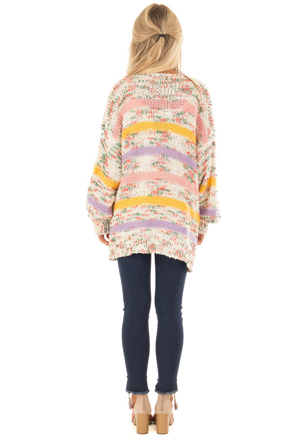Multi Striped Yarn Open Front Cardigan with Pockets back full body