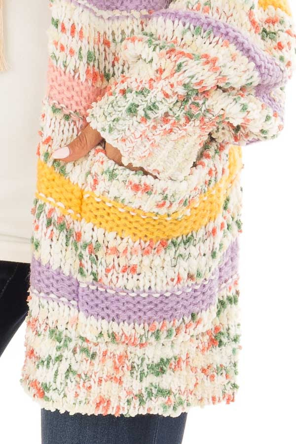 Multi Striped Yarn Open Front Cardigan with Pockets detail