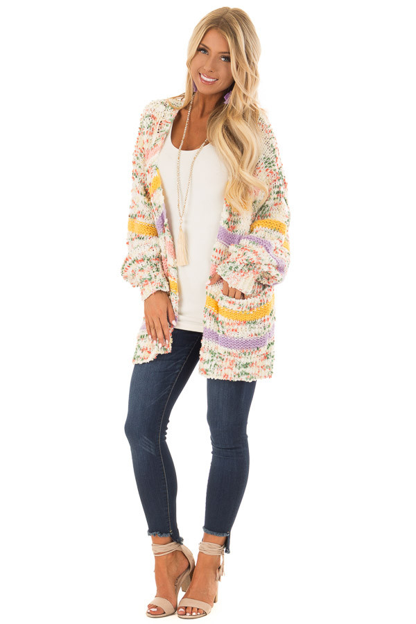 Multi Striped Yarn Open Front Cardigan with Pockets front full body