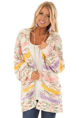 Multi Striped Yarn Open Front Cardigan with Pockets front close up