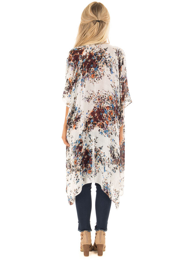 Ivory Abstract Floral Print Kimono with Short Sleeves back full body