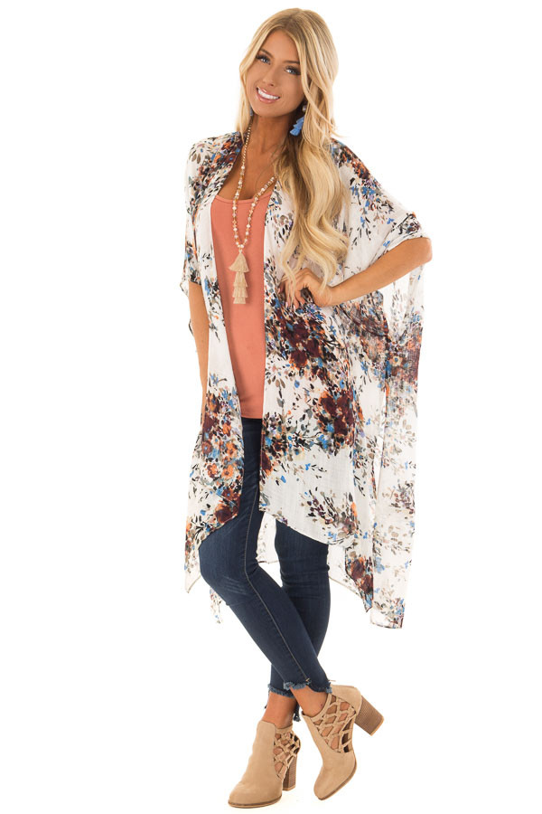 Ivory Abstract Floral Print Kimono with Short Sleeves front full body