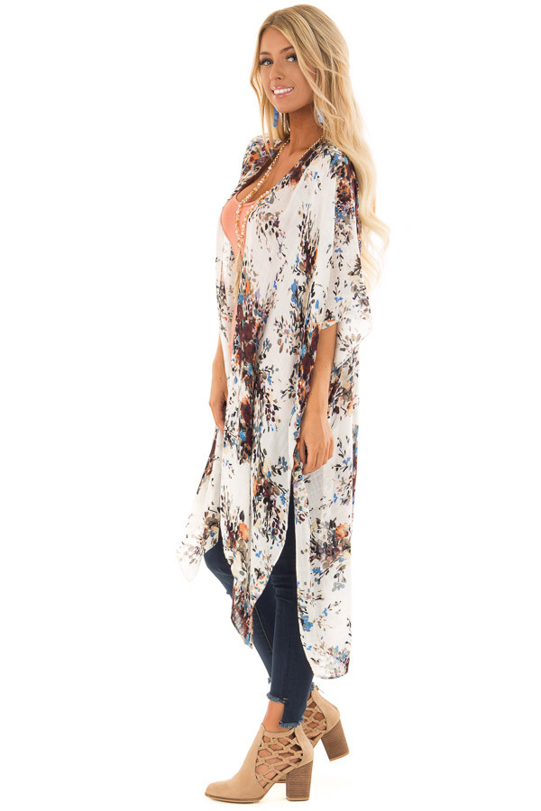 Ivory Abstract Floral Print Kimono with Short Sleeves side full body