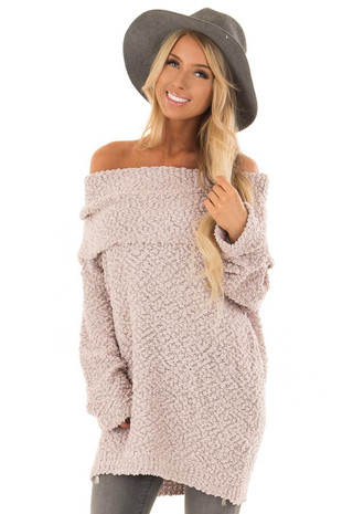 Light Mauve Off The Shoulder Comfy Sweater front close up
