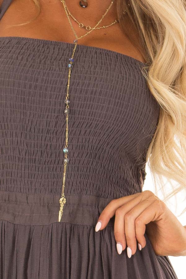 Mauve Smocked Halter Maxi Dress with Criss Cross Back Detail detail