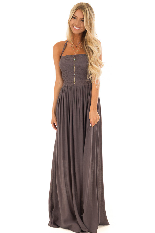 Mauve Smocked Halter Maxi Dress with Criss Cross Back Detail front full body