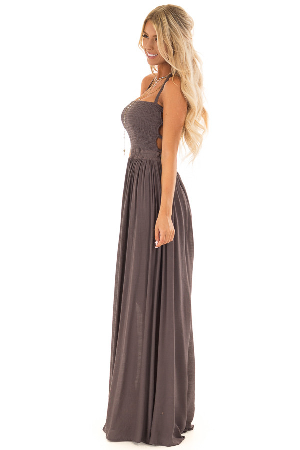 Mauve Smocked Halter Maxi Dress with Criss Cross Back Detail side full body