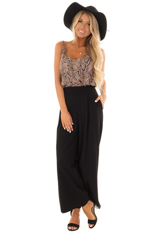Ink Black Pleated Pants with Wide Leg and Pockets front full body