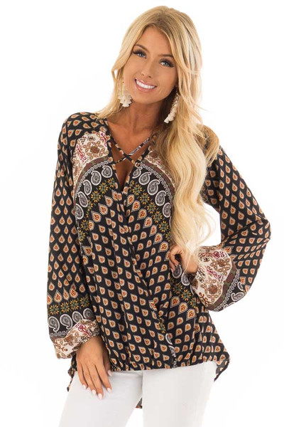 Black Long Sleeve Paisley Blouse With Criss Cross Detail front close up
