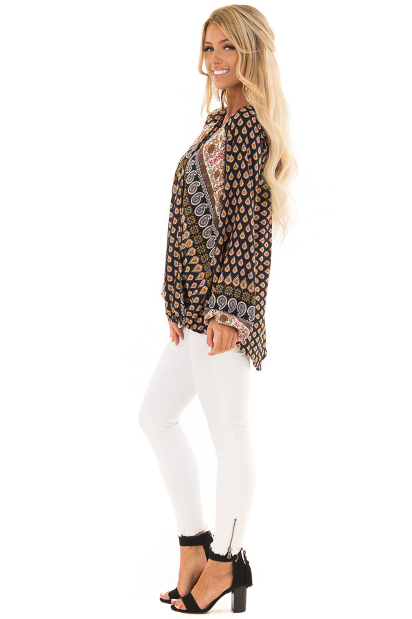 Black Long Sleeve Paisley Blouse With Criss Cross Detail side full body
