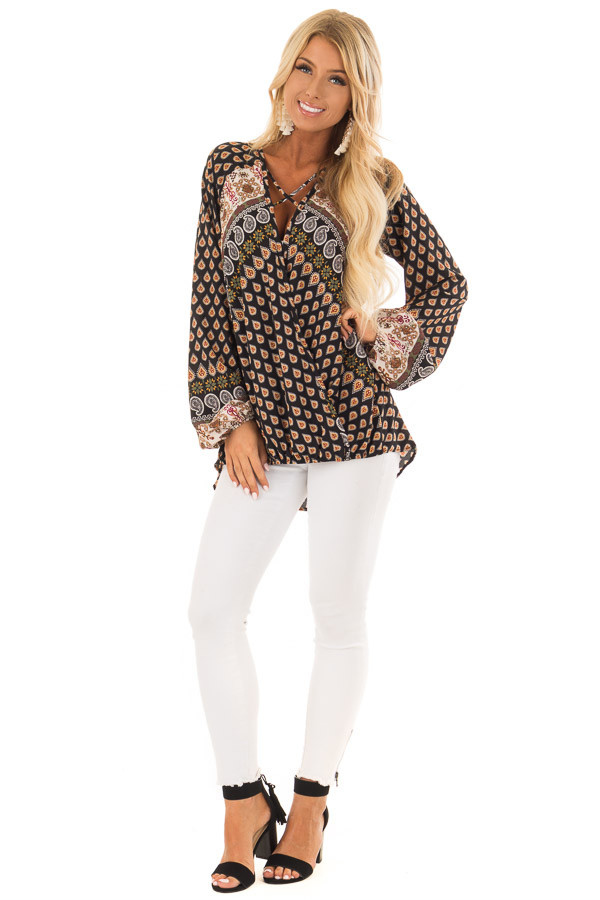 Black Long Sleeve Paisley Blouse With Criss Cross Detail front full body
